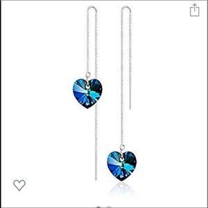 .925 Sterling Swarovski Heart threader earrings 💙